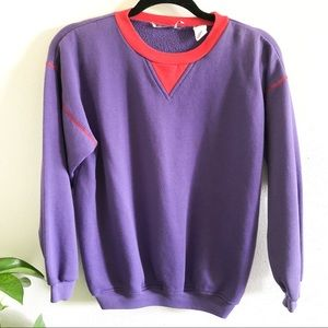VINTAGE 80's purple crew neck sweatshirt small